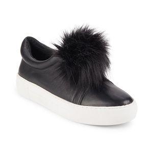 J/Slides Black Leather & Faux Fur Pom-pom Sneakers